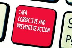 Begreppsmässig handhandstil som visar Capa korrigerande och förebyggande handling Eliminering för affärsfototext av royaltyfri bild