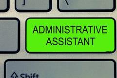Begreppsmässig handhandstil som visar den administrativa assistenten Specialist Clerical för service för administration för affär arkivbild