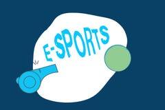 Begreppsmässig handhandstil som visar e-sportar Spelade den multiplayer videospelet för affärsfototext konkurrenskraftigt för åsk vektor illustrationer
