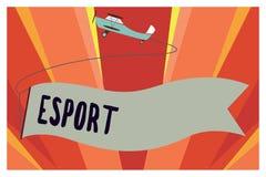Begreppsmässig handhandstil som visar Esport Affärsfotoet som ställer ut den multiplayer videospelet, spelade konkurrenskraftigt  stock illustrationer