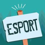 Begreppsmässig handhandstil som visar Esport Affärsfotoet som ställer ut den multiplayer videospelet, spelade konkurrenskraftigt  vektor illustrationer