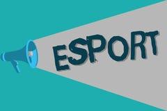 Begreppsmässig handhandstil som visar Esport Spelade den multiplayer videospelet för affärsfototext konkurrenskraftigt för åskåda stock illustrationer