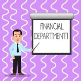 Begreppsmässig handhandstil som visar finansiell avdelning Del för affärsfototext av en organisation som dess analysisages stock illustrationer