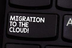 Begreppsmässig handhandstil som visar flyttning till molnet Affärsfoto som ställer ut överföringsdata till online-mapplagring fotografering för bildbyråer