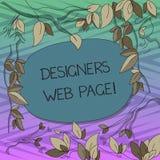 Begreppsmässig handhandstil som visar formgivare webbsidan Affärsfototext någon som förbereder innehållet för Websitessidor stock illustrationer