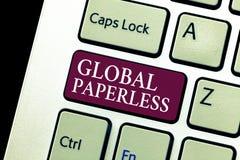 Begreppsmässig handhandstil som visar globalt Paperless Affärsfototext som går för teknologimetoder som email i stället för pappe royaltyfria bilder