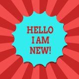 Begreppsmässig handhandstil som visar Hello är jag, ny Affärsfototext som introducerar sig till den okända visande newbien i lage royaltyfri illustrationer