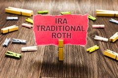 Begreppsmässig handhandstil som visar Ira Traditional Roth Affärsfototext är skattsjälvrisk på båda tillståndet och den federala  arkivfoto