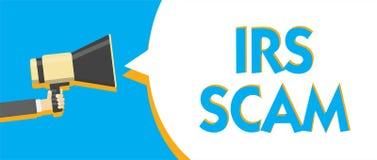 Begreppsmässig handhandstil som visar Irs Scam Affärsfototext uppsätta som mål skattebetalare, genom att låtsa som är inre intäkt stock illustrationer