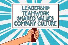 Begreppsmässig handhandstil som visar Ledarskap Teamwork Dela Värdera Företag kultur Team Success Man för grupp för affärsfototex stock illustrationer