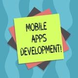 Begreppsmässig handhandstil som visar mobil Appsutveckling Process för affärsfototext av att framkalla den mobila appen för digit vektor illustrationer