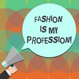 Begreppsmässig handhandstil som visar mode, är mitt yrke För Fashionist för affärsfototext formgivare yrkesmässig kläder stock illustrationer