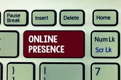 Begreppsmässig handhandstil som visar online-närvaro Affärsfoto som ställer ut existens av någon som kan finnas via en online-se royaltyfri bild