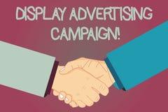 Begreppsmässig handhandstil som visar skärmreklamkampanjen Affärsfototext framför använda för kommersiellt meddelande royaltyfri illustrationer