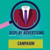 Begreppsmässig handhandstil som visar skärmreklamkampanjen Att ställa ut för affärsfoto framför ett kommersiellt meddelande vektor illustrationer