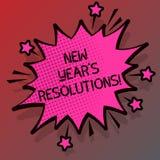 Begreppsmässig handhandstil som visar upplösningar för nytt år S Affärsfotoet som ställer ut målmål, uppsätta som mål beslut för  vektor illustrationer
