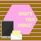 Begreppsmässig handhandstil som visar vilket S din Choicequestion Åsikt för alternativ för affärsfototext föredragen beslut royaltyfri illustrationer