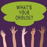 Begreppsmässig handhandstil som visar vilket S din Choicequestion Preferens för åsikt för alternativ för affärsfototext beslut fö stock illustrationer