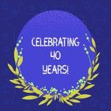Begreppsmässig handhandstilvisning som firar 40 år Affärsfoto ställa ut hedra Ruby Jubilee Commemorating vektor illustrationer