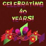Begreppsmässig handhandstilvisning som firar 40 år Affärsfoto som ställer ut hedra Ruby Jubilee Commemorating en special dag vektor illustrationer