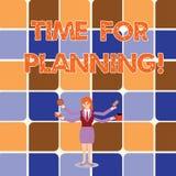 Begreppsmässig handhandstilvisning Tid för att planera Affärsfoto som ställer ut start av ett projekt som gör beslut vektor illustrationer