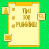 Begreppsmässig handhandstilvisning Tid för att planera Start för affärsfototext av ett projekt som gör beslut som organiserar royaltyfri illustrationer