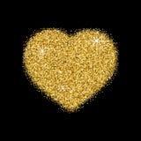 Begreppsmässig hjärta som göras av guld, blänker Royaltyfri Bild