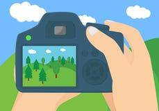 Begreppsmässig illustration för landskapfotografi Royaltyfri Bild