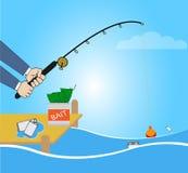 Begreppsmässig illustration med fisketecknade filmen som fångar smartphonen Arkivfoto
