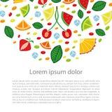 Begreppsmässig illustration med olik hand drog fruktskivor Fotografering för Bildbyråer