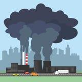 Begreppsmässig illustration som visar den förorenade röken från fabrik Royaltyfri Fotografi