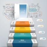 Begreppsmässig infographics för affärstrappuppgångdörröppning Arkivbild