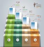Begreppsmässig infographics för affärstrappuppgångdörröppning Fotografering för Bildbyråer