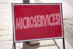 Begreppsmässig inspiration för överskrift för handhandstiltext som visar Microservices Affärsidéen för Micro servar skriftligt på Arkivbild