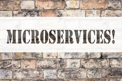 Begreppsmässig inspiration för meddelandetextöverskrift som visar Microservices Affärsidéen för Micro servar skriftligt på gammal Arkivbild