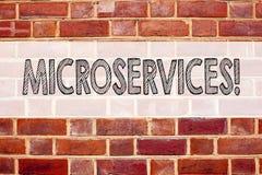 Begreppsmässig inspiration för meddelandetextöverskrift som visar Microservices Affärsidéen för Micro servar skriftligt på gammal Royaltyfri Bild