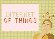 Begreppsmässig internet för handhandstilvisning av saker Affärsfotoet som ställer ut anslutning av apparater till det netto för a royaltyfria foton