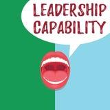 Begreppsmässig kapacitet för ledarskap för handhandstilvisning Affärsfototext en vilken ledare kan bygga kapacitet att leda royaltyfri illustrationer