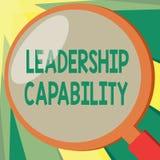 Begreppsmässig kapacitet för ledarskap för handhandstilvisning Ställa ut för affärsfoto en vilken ledare kan bygga kapacitet till royaltyfri illustrationer
