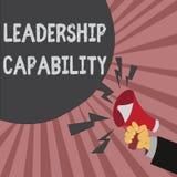 Begreppsmässig kapacitet för ledarskap för handhandstilvisning Ställa ut för affärsfoto en vilken ledare kan bygga kapacitet till vektor illustrationer