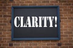 Begreppsmässig klarhet för meddelande för visning för inspiration för överskrift för handhandstiltext Affärsidé för klarhetsmedde royaltyfria foton