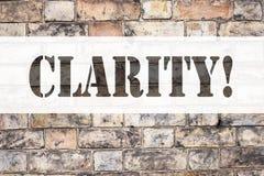 Begreppsmässig klarhet för visning för inspiration för meddelandetextöverskrift Affärsidé för klarhetsmeddelandet som är skriftli royaltyfri fotografi