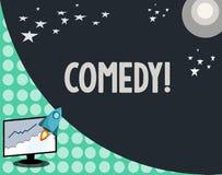 Begreppsmässig komedi för handhandstilvisning Affärsfotoet som ställer ut yrkesmässiga underhållningskämt, skissar gör royaltyfri illustrationer