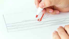 Begreppsmässig längd i fot räknat 4k för Closeup av finansiell framgång Graf för manteckningsresning på finansiellt diagram arkivfilmer