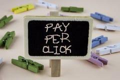 Begreppsmässig lön för handhandstilvisning per klick Att ställa ut för affärsfoto får pengar från besökareannonser som annonserar arkivfoton