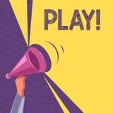 Begreppsmässig lek för handhandstilvisning Affärsfototext kopplar in i aktivitet för njutning och rekreation som har gyckel royaltyfri illustrationer