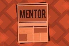 Begreppsmässig mentor för handhandstilvisning Affärsfototext råder eller utbildar någon speciellt litad på mer ung kollega vektor illustrationer