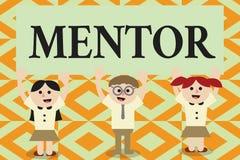 Begreppsmässig mentor för handhandstilvisning Att ställa ut för affärsfoto råder eller utbildar någon speciellt mer ung kollega vektor illustrationer
