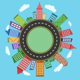 Begreppsmässig modern och färgrik cityscape Arkivfoto