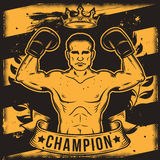 Begreppsmässig motivational affisch för vektor för en boxningklubba, boxningkorridor med en kontur för boxare s vektor illustrationer